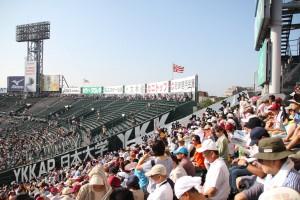 試合開始前の時点では、まだ外野席は空いていました。
